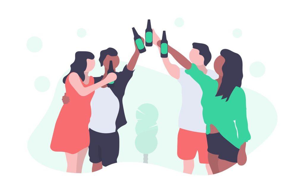 乾杯で家族共有をイメージ