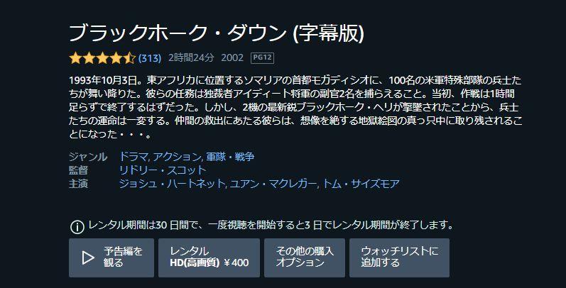 【ブラックホークダウン】Amazon評価