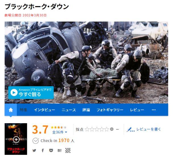 【ブラックホークダウン】映画.com評価