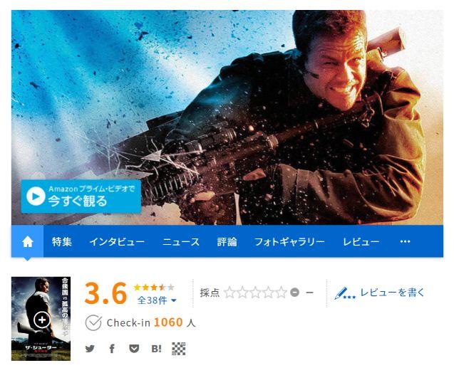 【ザ・シューター】映画ドットコムでの評価