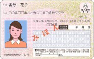 マイナンバーカードの見本(表)
