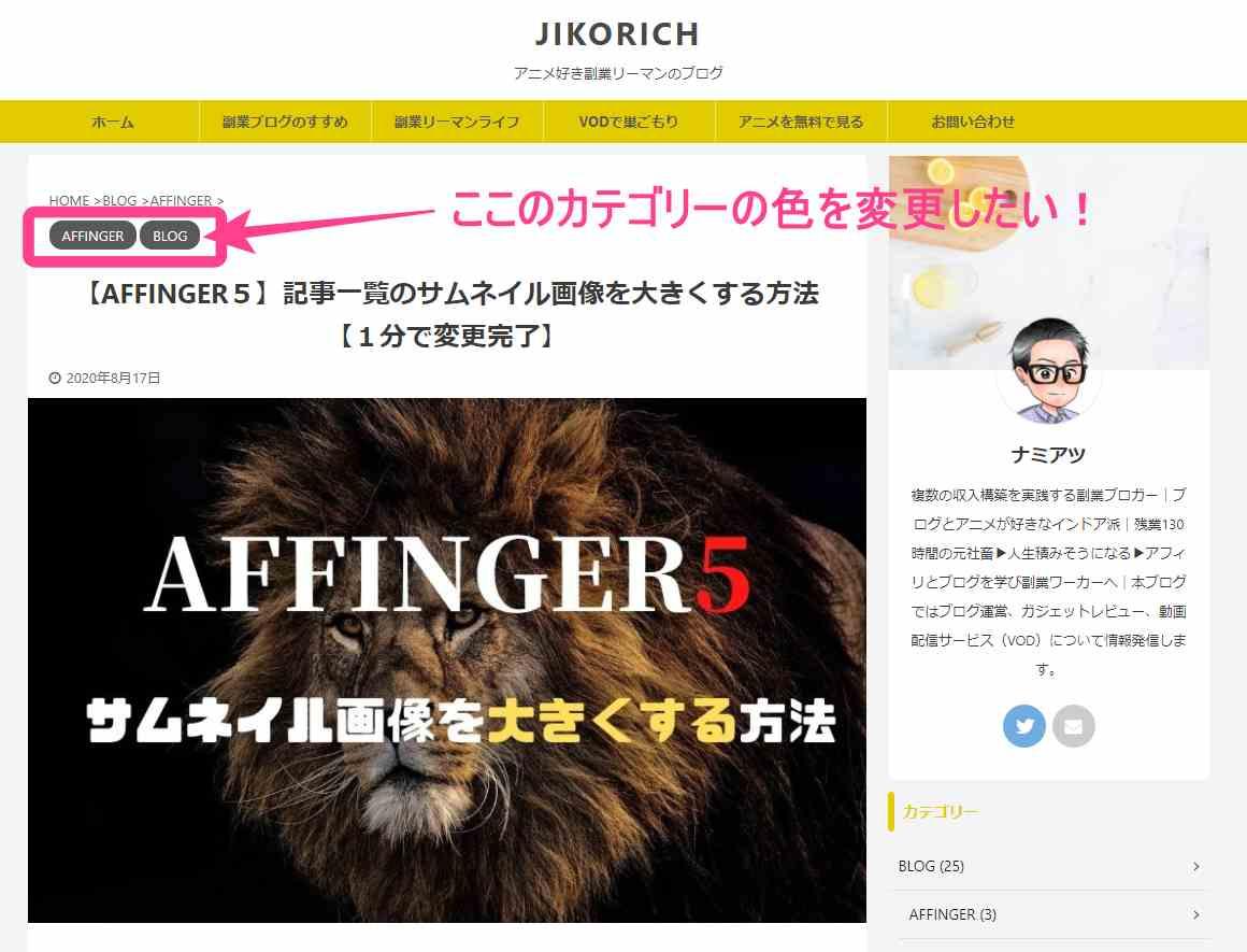AFFINGER5のカテゴリカラー
